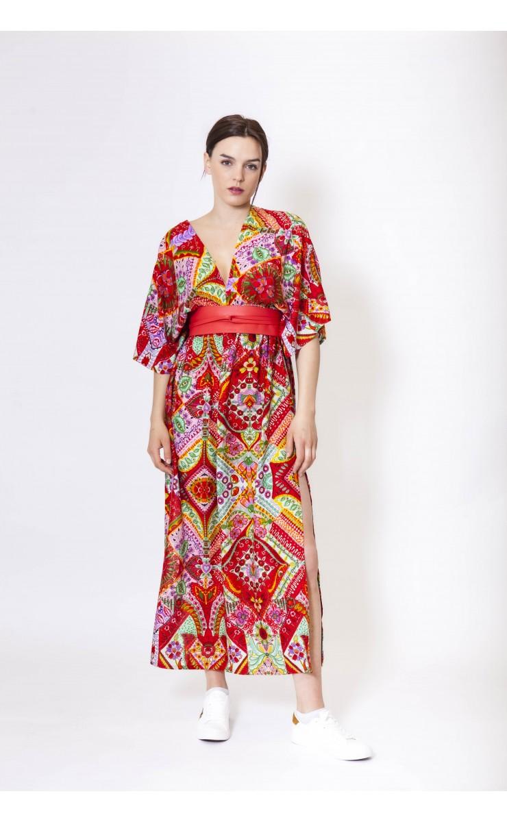 Robe longue en soie RASPAIL